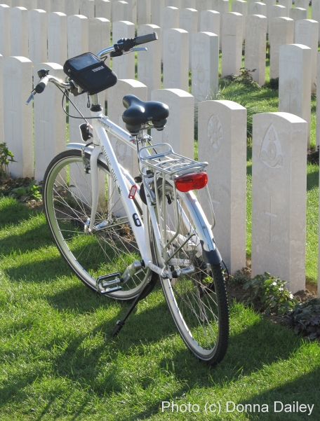 Bicycle at Tyne Cot Cemetery, Passendale, Flanders, Belgium small