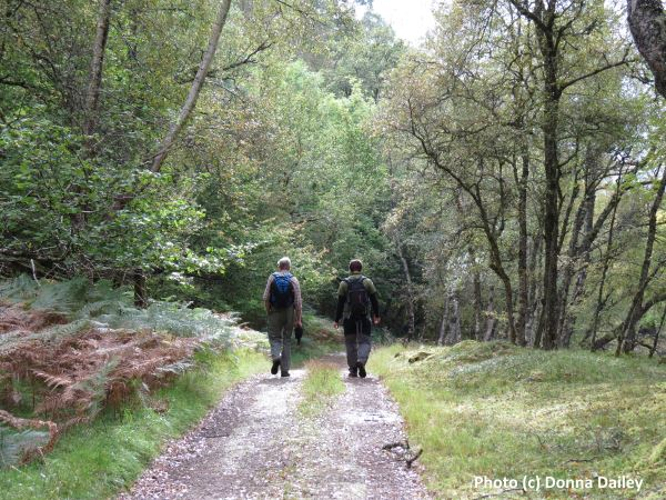Walking while on a cruise along the Caledonian Canal in the Highlands of Scotland