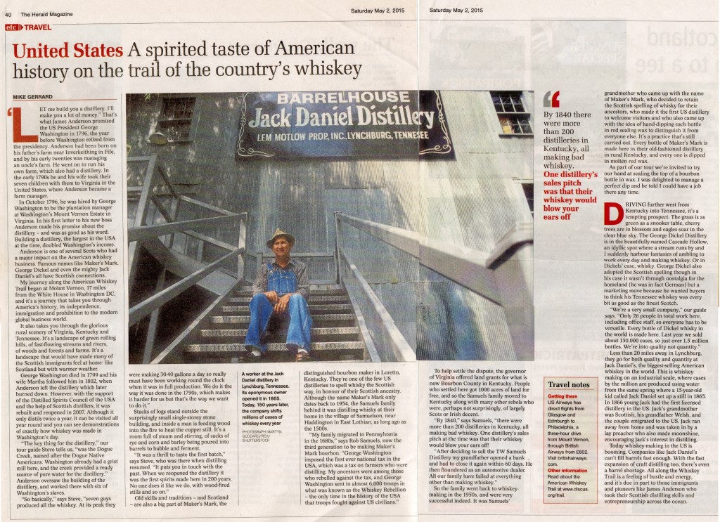 Mike Gerrard's piece for the Herald Magazine in Glasgow, Scotland, about the Scots who helped establish the whiskey industry in the USA