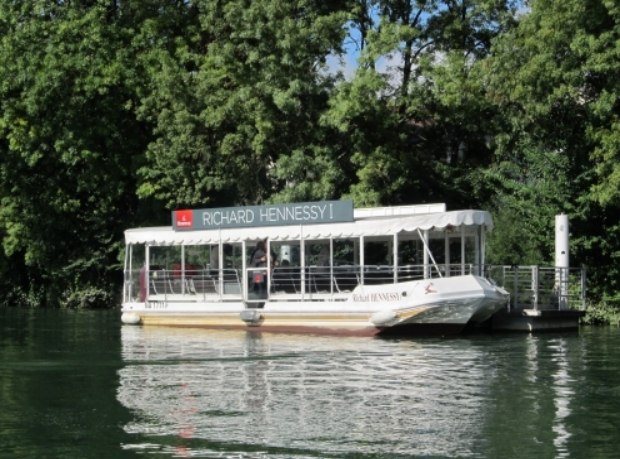 Hennessy boat on the River Charente in Cognac in France