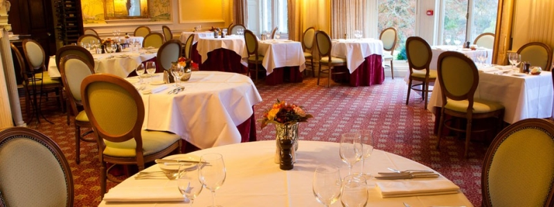 The restaurant in the Ballathie House country house hotel in Perthshire, Scotland
