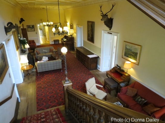 One of the guest lounge areas at the Ballathie House country house hotel in Perthshire, Scotland