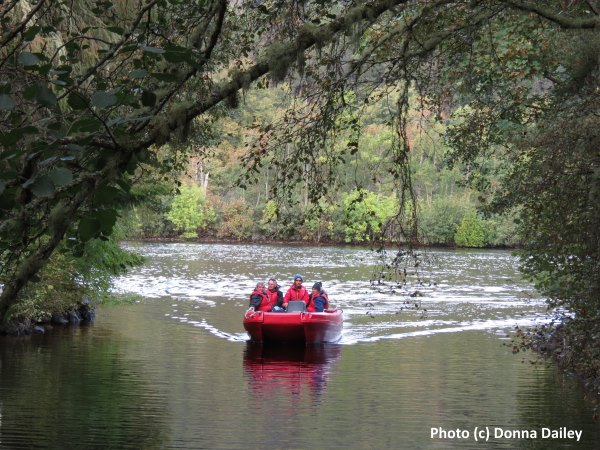 Taking the tender ashore on a cruise along the Caledonian Canal in the Highlands of Scotland