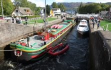 Fingal the barge on a cruise along Scotland's Caledonian Canal