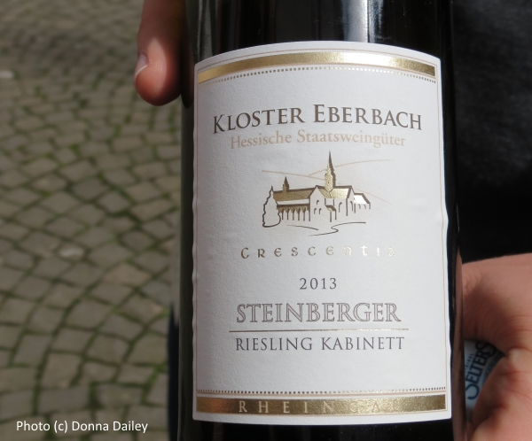 A wine label at the Eberbach Monastery in German