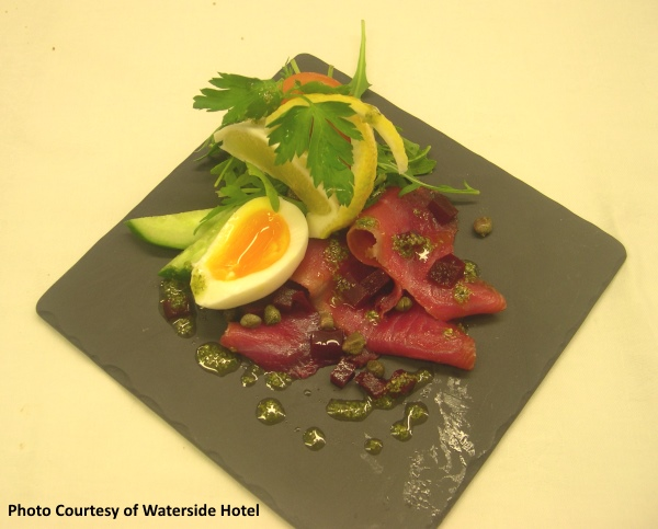 Beetroot-smoked salmon at the restaurant in the Waterside Hotel in Inverness in Scotland