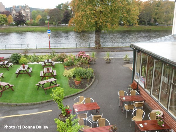 The view from our room at the Waterside Hotel in Inverness in Scotland