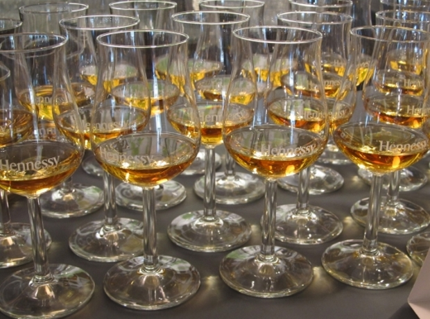 Cognac Tasting glasses at the Hennessy Distillery in Cognac, France