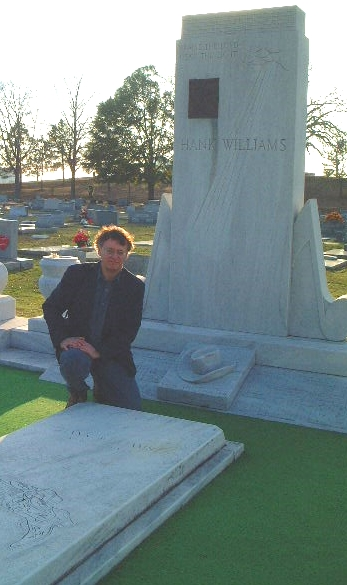 Travel writer Mike Gerrard at Hank Williams grave in Montgomery, Alabama
