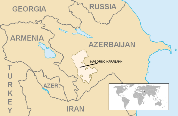Map showing the location of Nagorno-Karabakh