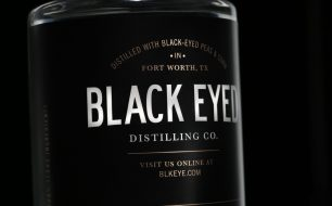 Label of vodka bottle from Black Eye, made from black-eyed peas in Texas.