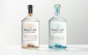 Bottles of blanco and cristalino tequila from Volcan de mi Tierra